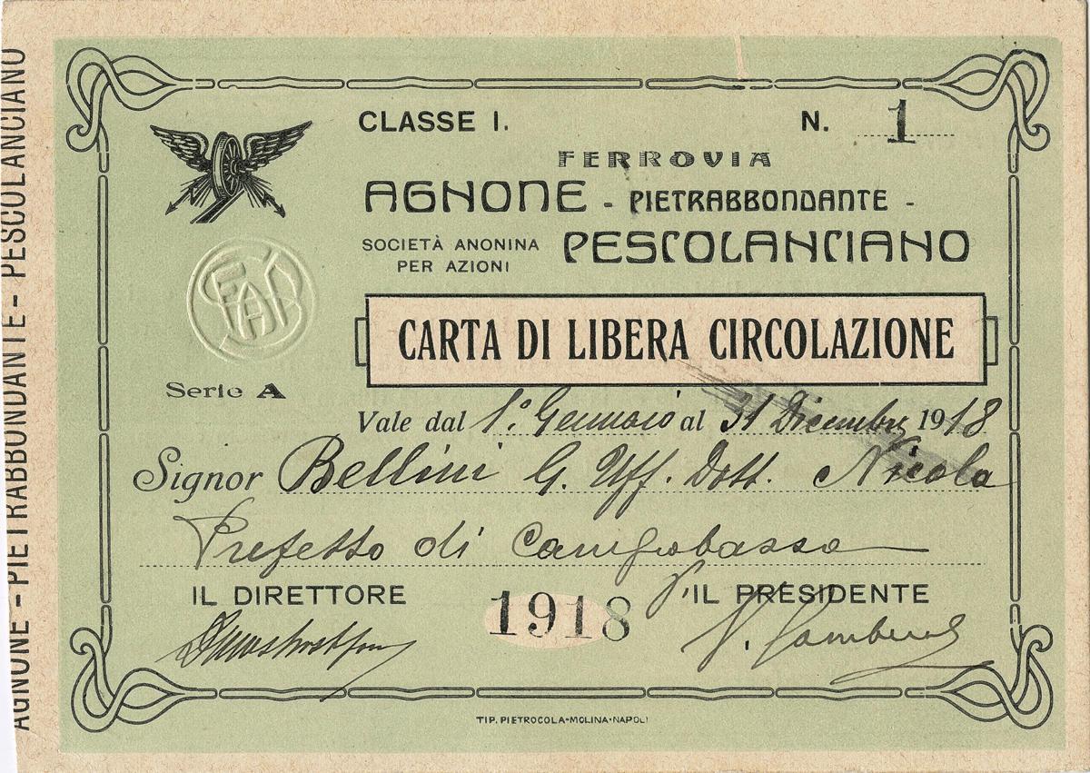 Carta di libera circolazione (fronte)