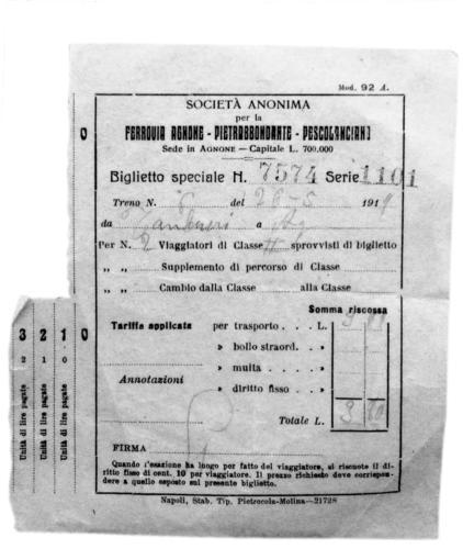 Biglietto ferrovia Agnone-Pescolanciano