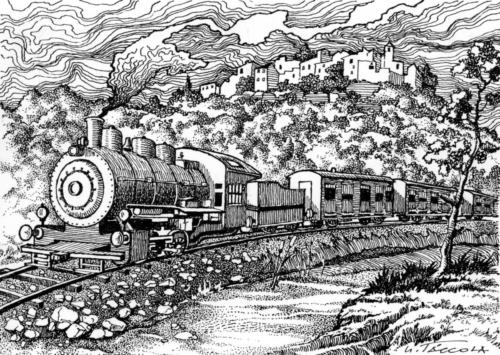 Cartolina (fronte) centenario ferrovia Vairano-Roccaravindola (1886-1986)
