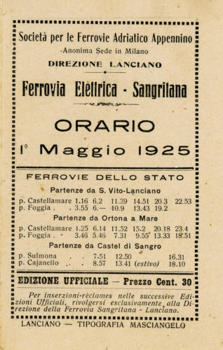 Copertina Orario Sangritana 1925