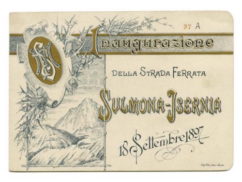 invito al viaggio inaugurale della ferrovia Sulmona-Isernia (fronte)