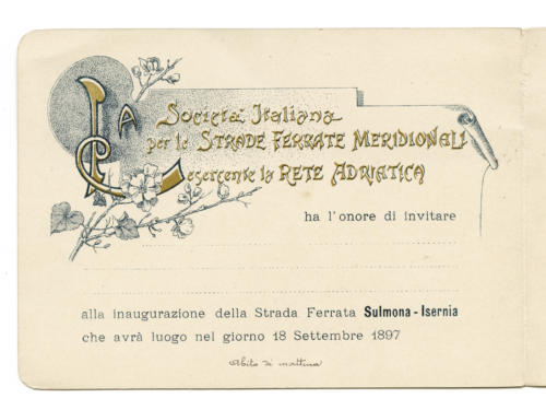 invito al viaggio inaugurale della ferrovia Sulmona-Isernia (pag. int. sx)