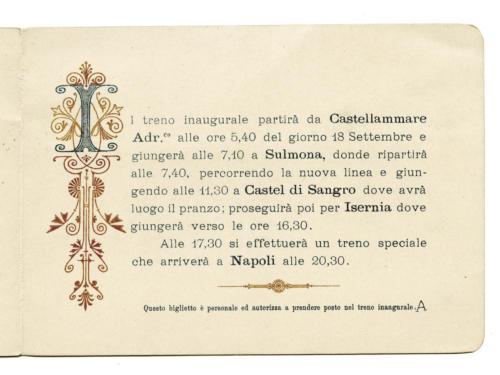 invito al viaggio inaugurale della ferrovia Sulmona-Isernia (pag. int. dx)