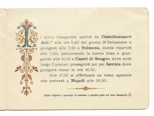 Invito al treno inaugurale della ferrovia Sulmona-Isernia del 18 settembre 1897