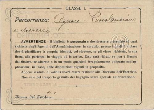 Carta di libera circolazione del 1918 (retro)