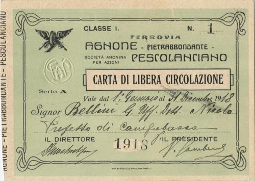 Carta di libera circolazione del 1918 (fronte)
